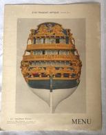 Menu 1936 Cie Gle Transatlantique Paquebot Normandie Dauphin Royal Construit 1752 Aboukir Orient - Menükarten