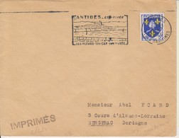 """1956 France 06 Alpes Maritimes Antibes Flamme """"Ses Fleurs Son Cap Son Musee"""" - Postmark Collection (Covers)"""