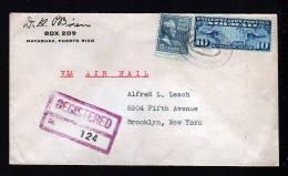 1939 - 10 Und 15 C. Auf Einschreiben-Luftpostbrief Ab MAYAGUEZ (Puerto Rico) Nach Brooklyn - Etats-Unis