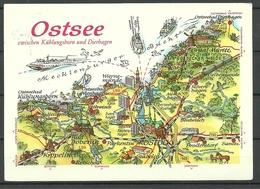 Deutschland DDR 1985 Ansichtskarte Ostsee, Gesendet 1990, Mit 3 Briefmarken - Allemagne