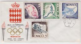 Jeux Olympiques Helsinki 1952 - FDC Enveloppe Premier Jour Monaco - Timbre Cyclisme - Basket-Ball Stamp Football Voile - Ete 1952: Helsinki