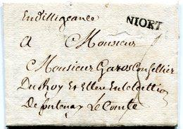 DEUX SEVRES De NIORT LAC Du 14/03/1776 Marque Lenain N°3A Taxée 5 Pour FONTENAY LE COMTE - Postmark Collection (Covers)