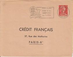 "1962 France 12 Aveyron Millau Flamme ""Portes Des Gorges Du Tarn"" - Postmark Collection (Covers)"