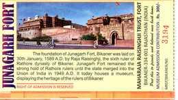 2016 -  TICKET FORT JUNAGARH - RAJASTHAN - Inde - Tickets D'entrée