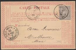 """Carte Postale Précurseur Obl Double Cercle """"Belfort"""" 30/5/1878 Vers Mulhouse + Piquage Au Verso. / Yv N°77 - France"""
