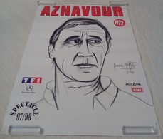 AFFICHE ORIGINALE CHANTEUR CHARLES AZNAVOUR SPECTACLE 97/98 Illustrée Par Bernard Buffet Portrait - Affiches & Posters