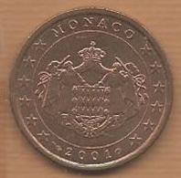 PRINCIPATO  DI MONACO CENT 5 ANNO 2001   M B - Monnaies & Billets