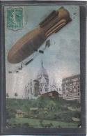 """Carte Postale 75. Paris Ballon Dirigeable """"Ville De Paris"""" à Montmartre Très Beau Plan - Autres"""