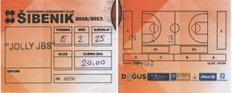 Croatia, Ticket, Basketball, National League Sibenik - Jolly - Match Tickets