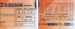 Croatia, Ticket, Basketball, National League Sibenik - Cibona - Match Tickets