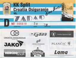 Croatia, Ticket, Basketball,  Split - Zadar - Match Tickets