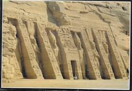 EGITTO - ABU SIMBEL - TEMPIO DI NEFERTARI - FORMATO GRANDE 17X12 - VIAGGIATA 2001 FRANCOBOLLO ASPORTATO - Abu Simbel