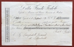 ASSEGNO BANCARIO  DITTA FANTI FEDELE  VIGNOLA E MARA NO SULPANARO  DA L. 50 DEL 1891 - Azioni & Titoli
