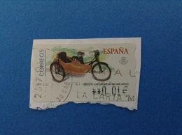 SPAGNA ESPANA USATO STAMP USED AUTOMATICO FRAMA ATM 0,01 €  MOBYLETTE AU-HT CON SIDECAR 1954 - Servizi