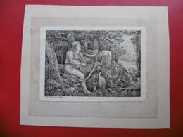 GRAVURE KIRCHNER FEMME A L HARPE - Prints & Engravings