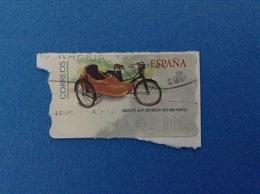SPAGNA ESPANA FRANCOBOLLO USATO STAMP USED AUTOMATICO FRAMA ATM 2,00 €  MOBYLETTE AU-HT CON SIDECAR 1954 - Servizi