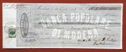 BANCA POPOLARE DI MODENA CAMBIALE CON MARCA DA BOLLO TIMBRI E FIRME AUTOGRAFE DEL 1876 - Azioni & Titoli