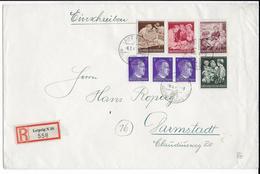 1944 - III° REICH - ENVELOPPE RECOMMANDEE GF De  LEIPZIG => DARMSTADT - Alemania