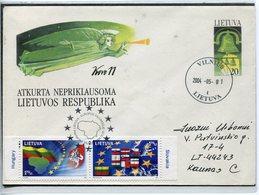 LITHUANIA 2004 COVER EUROPA UNIO FLAG SLOVAKIA HUNGARY SPECIAL CANCEL 2004 05 01 - Lithuania