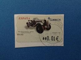 SPAGNA ESPANA FRANCOBOLLO USATO STAMP USED AUTOMATICO FRAMA ATM 0,01 € MUSEO HISTORIA AUTOMOCION DONOSTI 1928 - Servizi