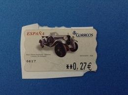 SPAGNA ESPANA FRANCOBOLLO USATO STAMP USED AUTOMATICO FRAMA ATM 0,27 € MUSEO HISTORIA AUTOMOCION DONOSTI 1928 - Servizi