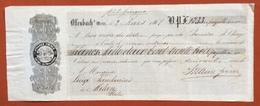 MARCHE PER CAMBIALI 1863/66 LIRE 3  SU CAMBIALE OFFENBACH MEIN DEL 1867 - Azioni & Titoli