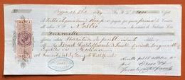 MARCHE PER CAMBIALI 1863/66  LIRE 1 SU CAMBIALE  REGGIO 1864 - Azioni & Titoli