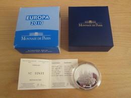 "DOUBLE DE MA COLLECT / MDP 10 EUROS Argent 99,9% EUROPA 2010 Belle Epreuve ""ABBAYE DE CLUNY"" Avec Coffret - France"