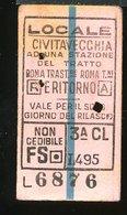 TR16 BIGLIETTO  CIVITAVECCHIA A UNA STAZIONE DEL TRATTO ROMA TRASTEVERE A/R 1955 3° CLASSE - Treni