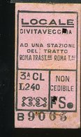 TR17 BIGLIETTO  CIVITAVECCHIA A UNA STAZIONE DEL TRATTO ROMA TRASTEVERE ROMA TERMINI 1952 3° CLASSE - Europa
