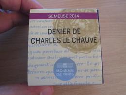 """DOUBLE DE MA COLLECT / MDP 10 EUROS Argent 99,9% SEMEUSE 2014 Belle Epreuve """"DENIER CHARLES LE CHAUVE"""" Avec Coffret - France"""