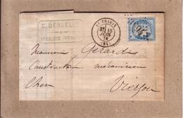 HAUTE VIENNE , CHER - FACTURE LETTRE C. DENUELLE DE ST YRIEIX POUR VIERZON , CAD TYPE 17 , AMBULANT AU DOS -1874 - Marcophilie (Lettres)