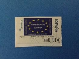 SPAGNA ESPANA FRANCOBOLLO USATO STAMP USED AUTOMATICO FRAMA ATM 0,01 € CONSTITUCION EUROPEA - Servizi