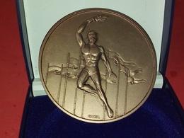 MÉDAILLE GLORIA Jeux Olympiques  EN BRONZE Ou CUIVRE Dans Sa Boite DIAMÈTRE 66 Mm POIDS 114 Grammes - Otros