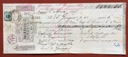MARCHE DA BOLLO  PER CAMBIALI  LIRE 1,00  SU CAMBIALE ING.A.ROSSI PAVIA  DEL 1887 MOLTE FIRME AUTOGRAFE - Azioni & Titoli