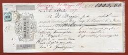 MARCHE DA BOLLO  PER CAMBIALI  LIRE 0,50  SU CAMBIALE ING.A.ROSSI PAVIA  DEL 1887 CON  FIRME AUTOGRAFE - Azioni & Titoli