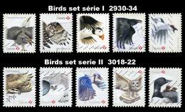 Canada (Scott No.2930-34 + 3018-22 - Oiseaux / Birds) (o) 2 Sets - 1952-.... Règne D'Elizabeth II