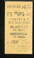 TR25 BIGLIETTO CIVITAVECCHIA  MILANO CENTRALE VIA GENOVA 1969 1° CLASSE - Europa