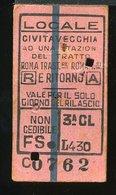 TR29 BIGLIETTO CIVITAVECCHIA  AD UN TRATTO ROMA TRASTEVERE ROMA TERMINI A/R1952 3° CLASSE - Spoorwegen
