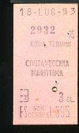 TR33 BIGLIETTO ROMA TERMINI CIVITAVECCHIA MARITTIMA 1953 PUB. MOSTRA D'OLTREMARE 3° CLASSE - Treni