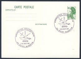 France Rep. Française 1985 Card / Karte / Carte - Exposition Philatelique, Sain Quentin / Ausstellung - Treinen