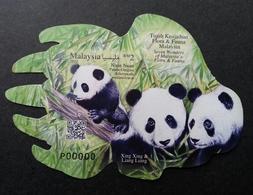 Malaysia Seven Wonders Of Flora And Fauna 2016 Panda Bamboo (ms) MNH *P00000 *VIP *odd Shape *QR Code *unusual - Malaysia (1964-...)