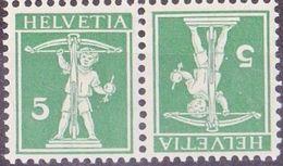 Schweiz Suisse 1910:  Kehrdruck / Téte-bêche Zu K7 III Mi K5 Type III * Mit Falz - Avec Trace  MLH (Zu CHF 13.00 - 50%) - Tete Beche