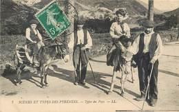 Région Pyrénées, Types Du Pays, ânes, Métiers Bergers Béret Famille éd LL 7 Lourdes Ane Paysans Costumes - Midi-Pyrénées