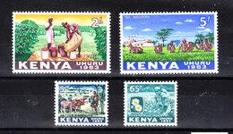 Kenya  -  1963. Allevamento Bovini, Raccolta Caffè,the,camomilla.  Cattle, Harvesting Coffee, Tea, Chamomile.MNH - Agricultura