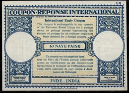 INDE / INDIA London Type XVII  63 NAYE PAISE International Reply Coupon Reponse Antwortschein IRC IAS Mint ** - Briefe