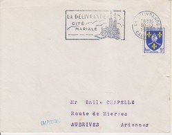 """1956 France 14 Calvados La Delivrande Flamme """"Cite' Mariale"""" Cathedral Church Chiesa - Postmark Collection (Covers)"""