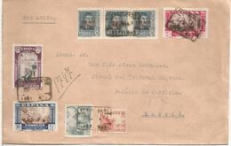 LAS PALMAS CANARIAS 1940 CC CERTIFICADA A MADRID SELLOS FERNANDO AEREOS Y VIRGEN DEL PILAR RELIGION - 1931-Hoy: 2ª República - ... Juan Carlos I