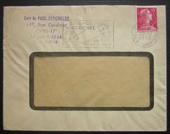 Gare De Paris Batignolles 1956 Cachet Bleu Sur Lettre  De La Société Nationale Des Chemins De Fer Français - Postmark Collection (Covers)