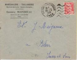 1951 France 18 Cher Henrichemont Daguin Flamme Muette - Postmark Collection (Covers)
